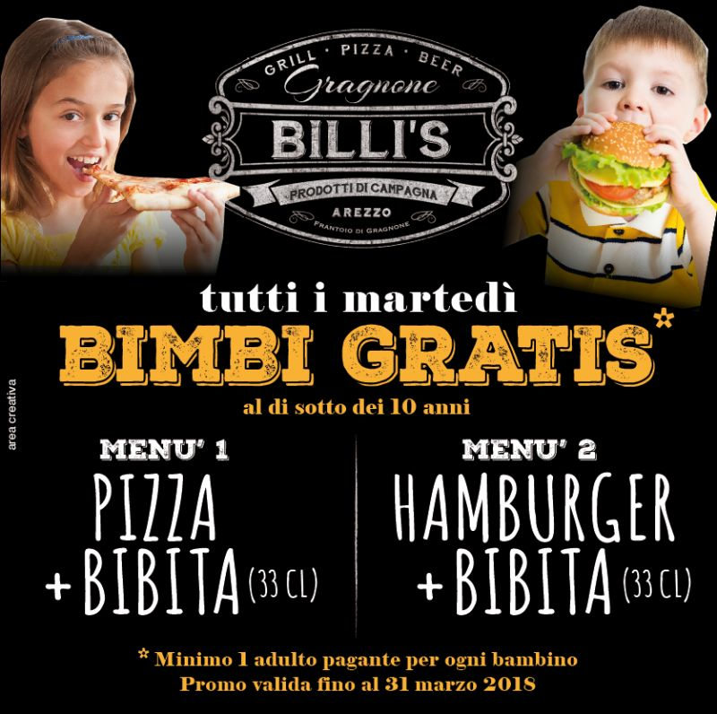 BILLI'S  - hamburger arezzo - promo bambini
