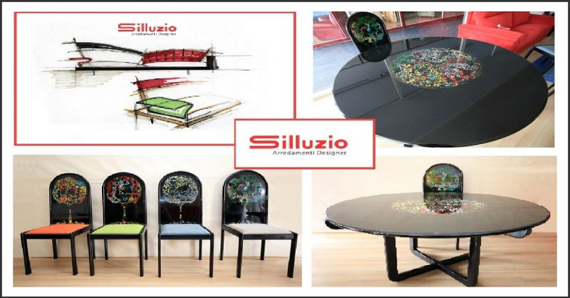 PURCHASE OPPORTUNITY ROUND TABLE WITH FOUR HAND-PAINTED CHAIRS BJORN WIINBLAD FOR ROSENTHAL LIM