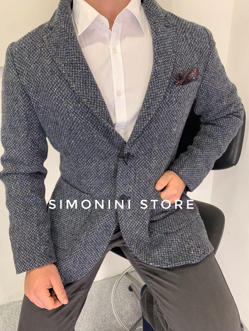 Giacca uomo elegante in lana lavorata foderata made in Italy