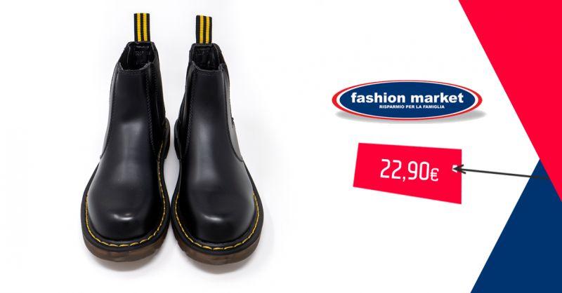 Fashion Market offerta scarpe Anfibi neri - occasione anfibi militari donna stivaletti bassi