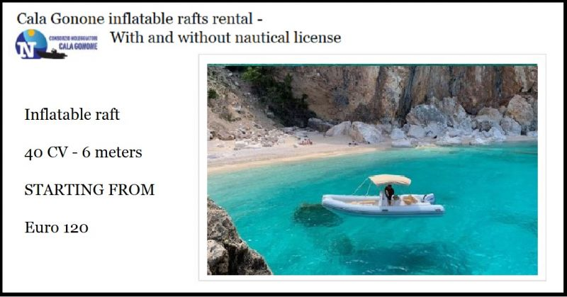 Cala Gonone inflatable rafts rental prices - Offer service boat rental for Sardinia excursions